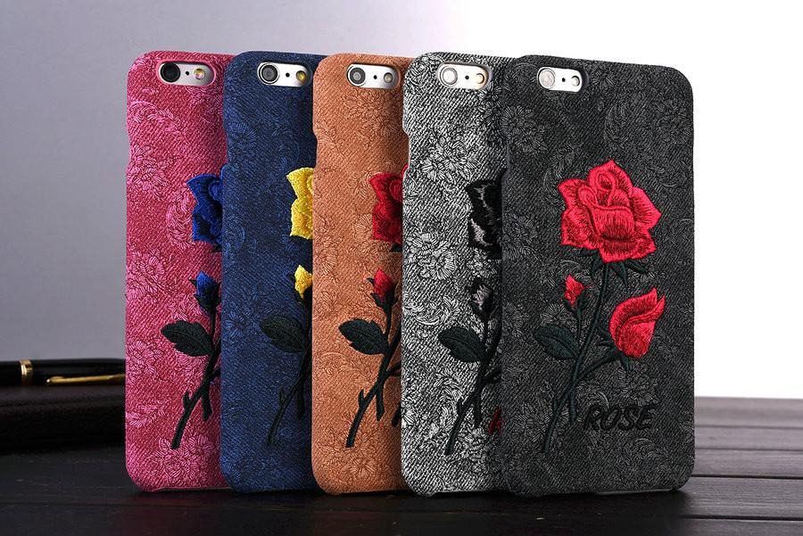cheap for discount bd64c 4a15a KISSCASE Phone Cases For IPhone 6 6S Plus 7 7 Plus 5 5s SE Girly Rose  Flower Embroidery Back Cover Case Cell Phone Pouch Personalized Cell Phone  Cases ...