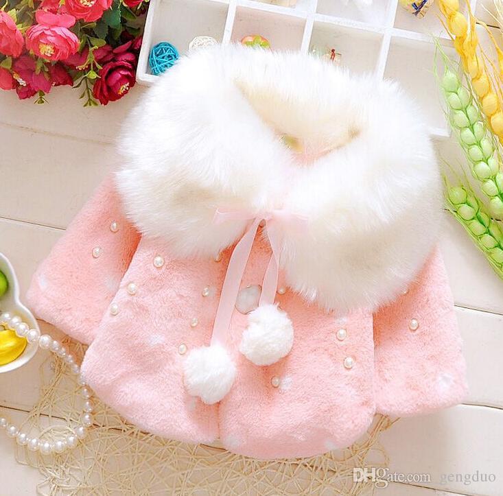 Fashion Baby Girls Winter Parkas Children Outerwear & coat Kids Girls Faux Fur Fleece Party Coats Winter Warm Jackets free shipping Q97