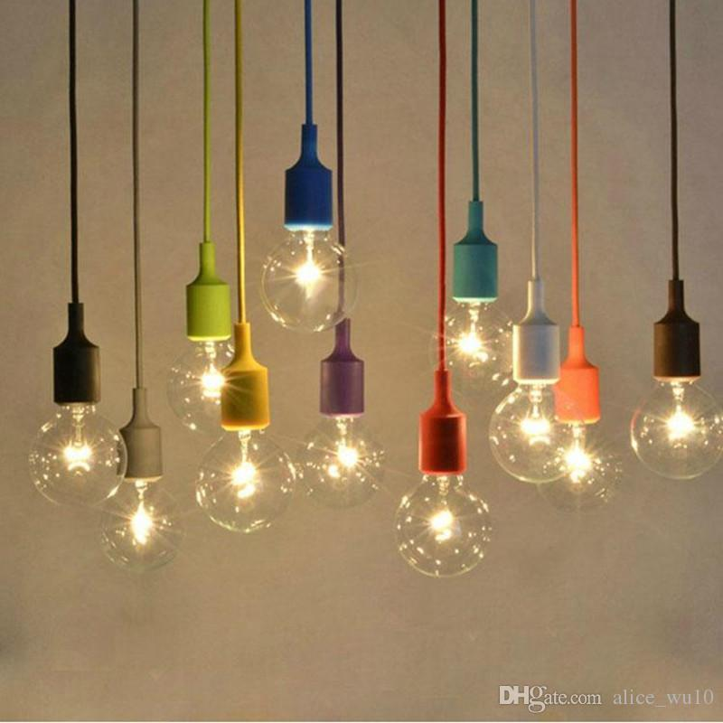 premium selection c617b 7dfbd Modern Colorful Silicone Rubber Pendant Light E27 For Decor DIY Hanging  Pendant Lamp Lustres Cord Lamps Light Fixtures Luminaire Art Glass Pendant  ...