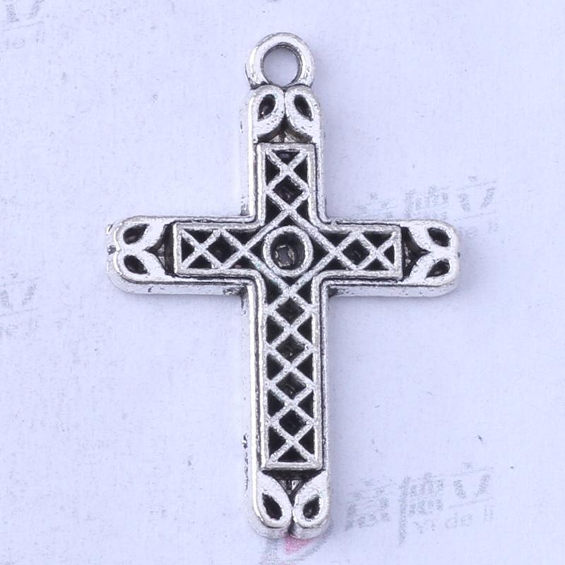 Ydlsp 29.2 * 20.3mm Croix Pendentif argent antique / alliage de bronze zinc Bracelets Fit Collier 150pcs / lot 3403