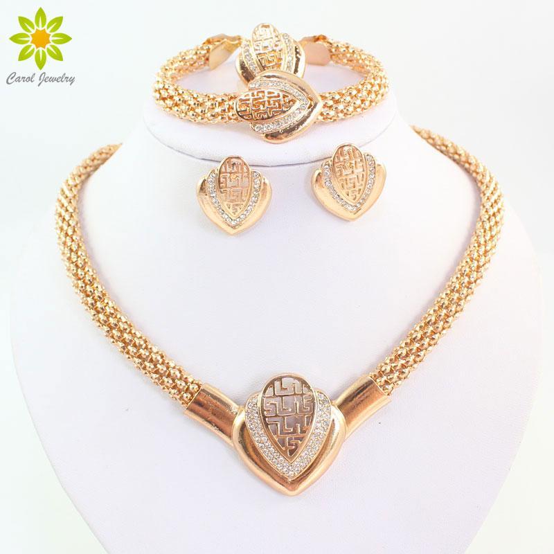 Femmes Mode Or Plaqué Cristal Collier Boucle D'oreille Bracelet Anneau Dubaï Bijoux Perles Africaines Bijoux Costume