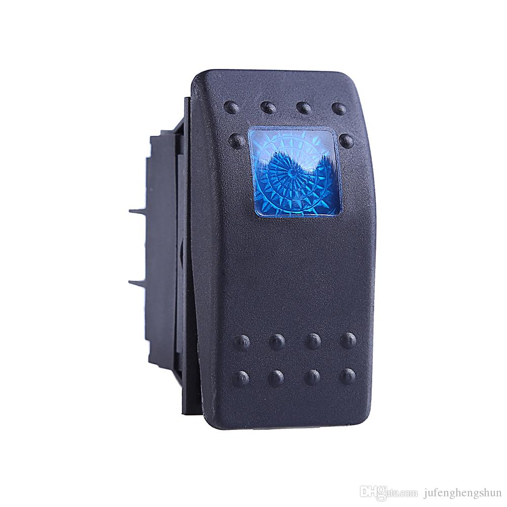 2019 12v 20a Push Button Switch On Off 4 Pin Blue Led Light Universal Car Auto Marine Boat Rocker Switch 4p On Off From Jufenghengshun 14 78