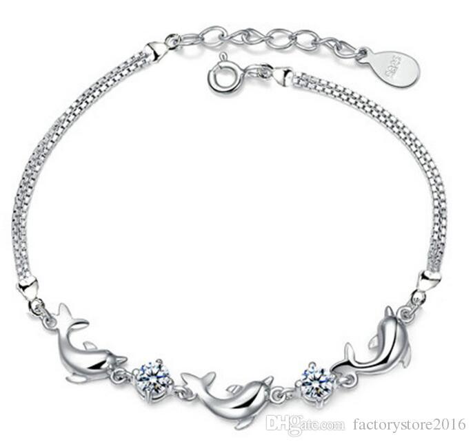 16.5 + 4.5cm Moda Dolphin Kristal Bilezikler Kadınlar Takı 925 Gümüş Kaplama Charm Bağlantı Bilezik Yüksek Kalite Toptan