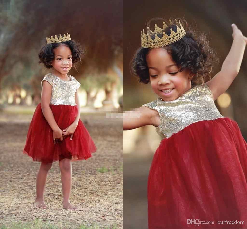 2019 Cute Short Flower Girl Dresses Sparkly Gold Sequins