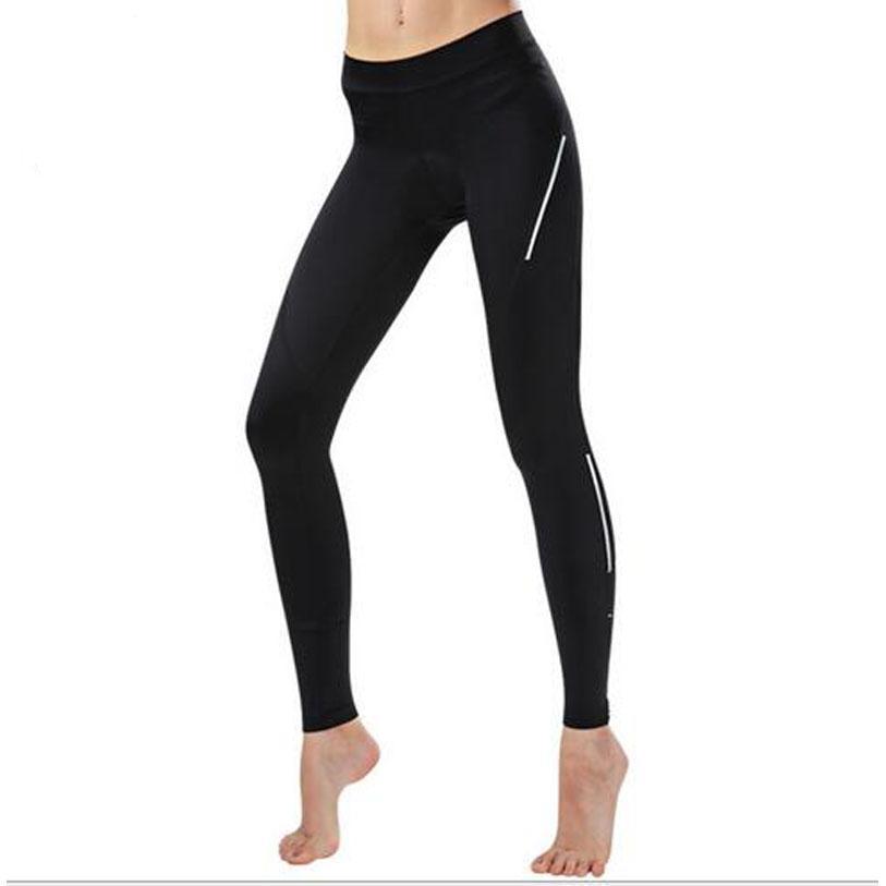 Pantaloni da ciclismo donna traspirante Pantaloni da bici traspirante ad alta elasticità 3D Pantaloni lunghi da bicicletta imbottiti Pantaloni sportivi da esterno neri