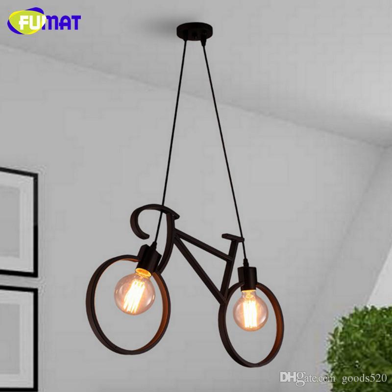 Fumat Rower wisiorek Light Nordic Art Decor Metal Wisiorek Światła Nowoczesny Prosty Jadalnia Korytarz Balkon Bar Lampa wisząca