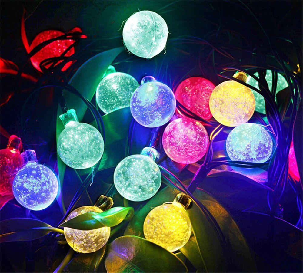 Solar Powered Christmas Lamp String Light 6M 30 LEDs Bubble Ball Fairy Lights Lamp Christmas Festival Decors New Year Garden Decorations