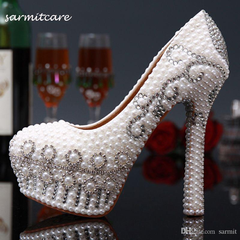 W020 palillo de perlas con diamantes de imitación Shinning cubierto tacones altos 2 colores Zapatos de novia blanco amarillento Elección del Rhinestone zapatos de novia blanco zapatos de tacón