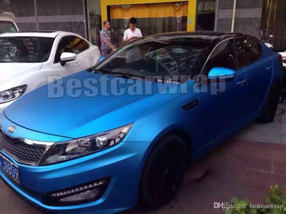 Титановый синий металлический матовый хром винил для обертывания автомобиля с воздушным выпуском для укладки автомобиля уникальный размер фольги обертывания 1.52x20m / Roll 4.98x66ft