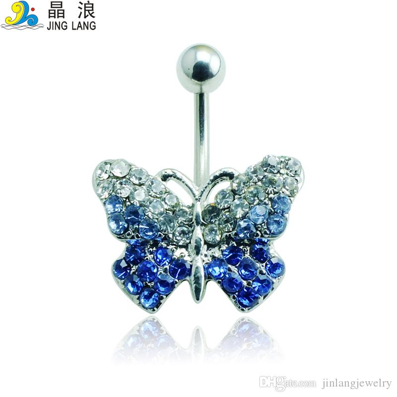2016 تصميم جديد جودة عالية أزياء الفضة القطب الأزرق كريستال الفراشة السرة التفكيك خواتم للنساء هيئة ثقب المجوهرات