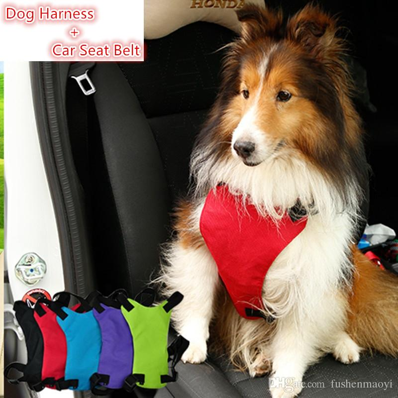 Pet supplies series Dog accessories travel safety Dog harness + Car Nylon Seat Belt 3 sizes 5 colors