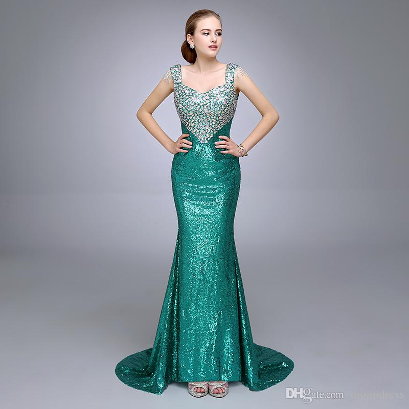 Dazzling V Neckline Sleeveless With Straps Crystal Beaded Mermaid Green Sequins Prom Dresses 2017 Pageant Gowns Floor Length