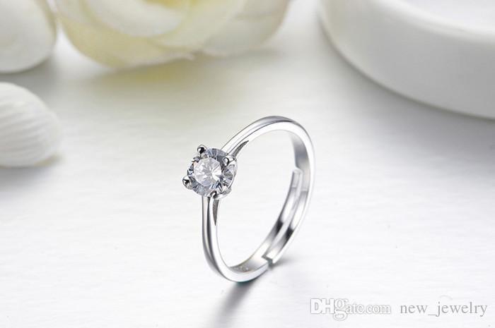 Anillo de diamante de plata de ley 925 con forma de anillo de plata Cristal checo de Austria Cuadros de iniciación de diamantes Anillos de diamantes Joyería para dama femenina
