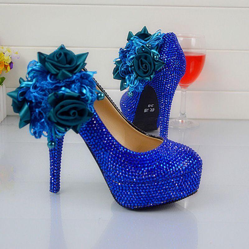 Robe De Mariée Chaussures Royal Bleu Couleur Strass Partie De Bal Chaussures À Talons Hauts Fait À La Main Dame Anniversaire Parti Pompes Plus La Taille