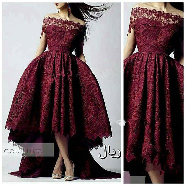2019 Vermelho New Arrival Borgonha Lace vestido de Baile Vestido De Noite Hi-Lo Prom Vestidos de Cristal Árabe Árabe Fora Do Ombro vestido de baile