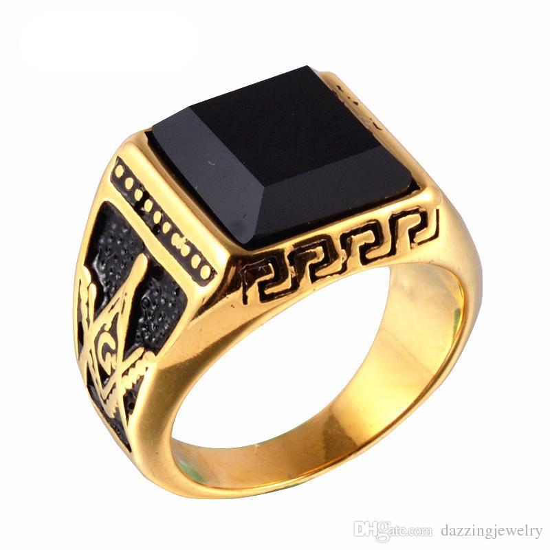 جودة عالية الساخن بيع 316l الفولاذ الصلب 18 كيلو الذهب الرجال ميسون الماسونية خاتم الماسونية مجوهرات مع العقيق الأسود الجزع حجر كبير بالجملة