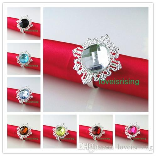 Wholesale--20 colors for U Pick-- 150pcs Clear White Gem Diamond Napkin Ring Serviette Holder Wedding Dinner Bridal Shower Favor Decor