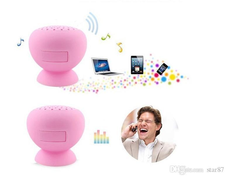 Por DHL Mini Sem Fio Bluetooth Speaker Cogumelo Otário Silicone Subwoofers Handfree Subwoofers Com Microfone De Silicone À Prova D 'Água telefone Android