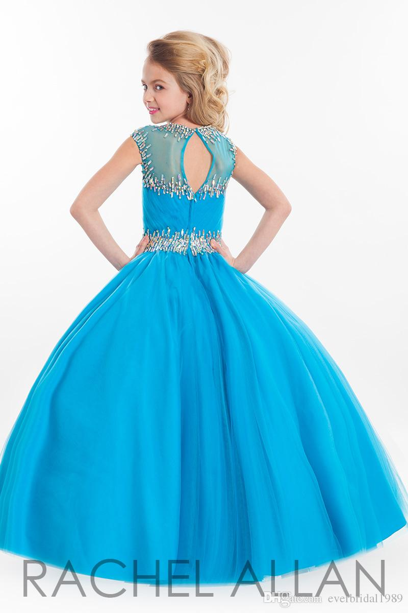 2015 Cheap Pink Ball Gown Girls Pageant Dresses Rhinestone Formal ...