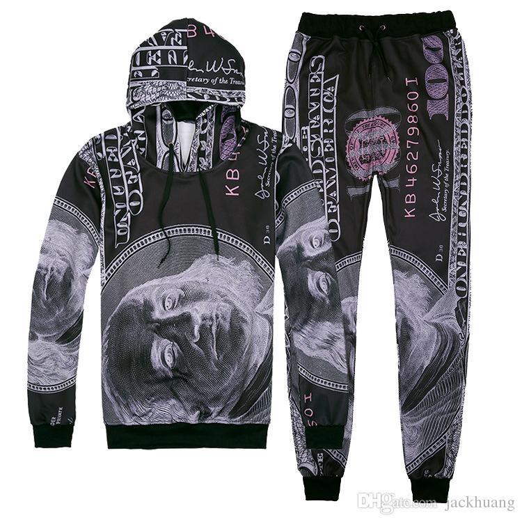 Dollar Muster Drucken Joggers Trainingsanzug Unisex Hosen + Hoodie Sweatshirts Outfit Jogginghose Set für Männer und Frauen