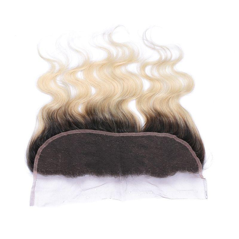Ombre Color # 1B 613 Chiusura frontale in pizzo Nodo candeggiato Orecchio all'orecchio Completo frontale in pizzo con i capelli del bambino per la donna