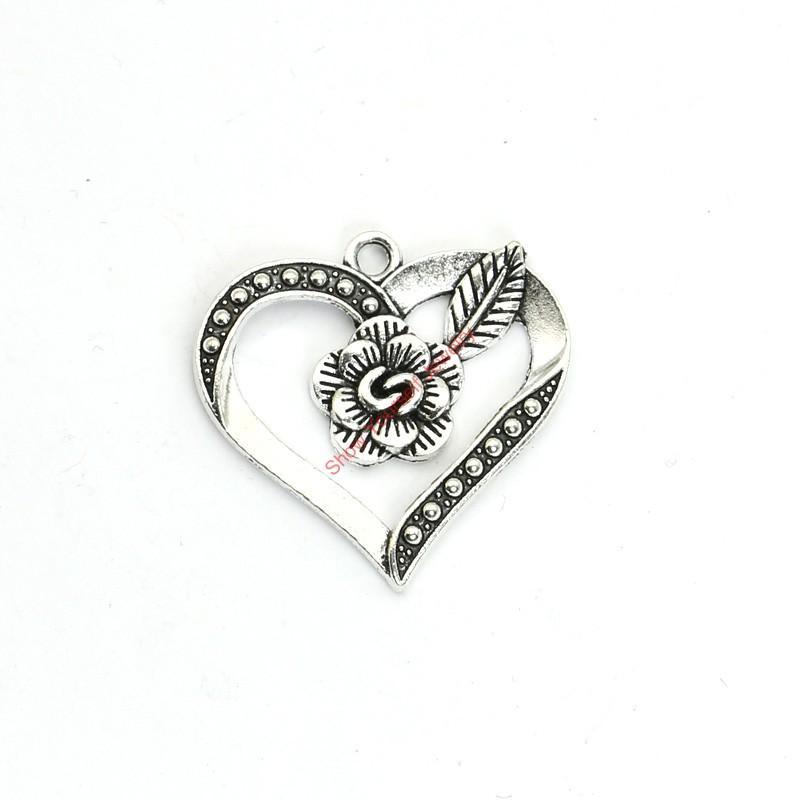 Prata banhado 15pcs Antique Flor do coração encantos Pingentes para Bracelet Jóias Fazendo DIY Colar Craft 28x29mm