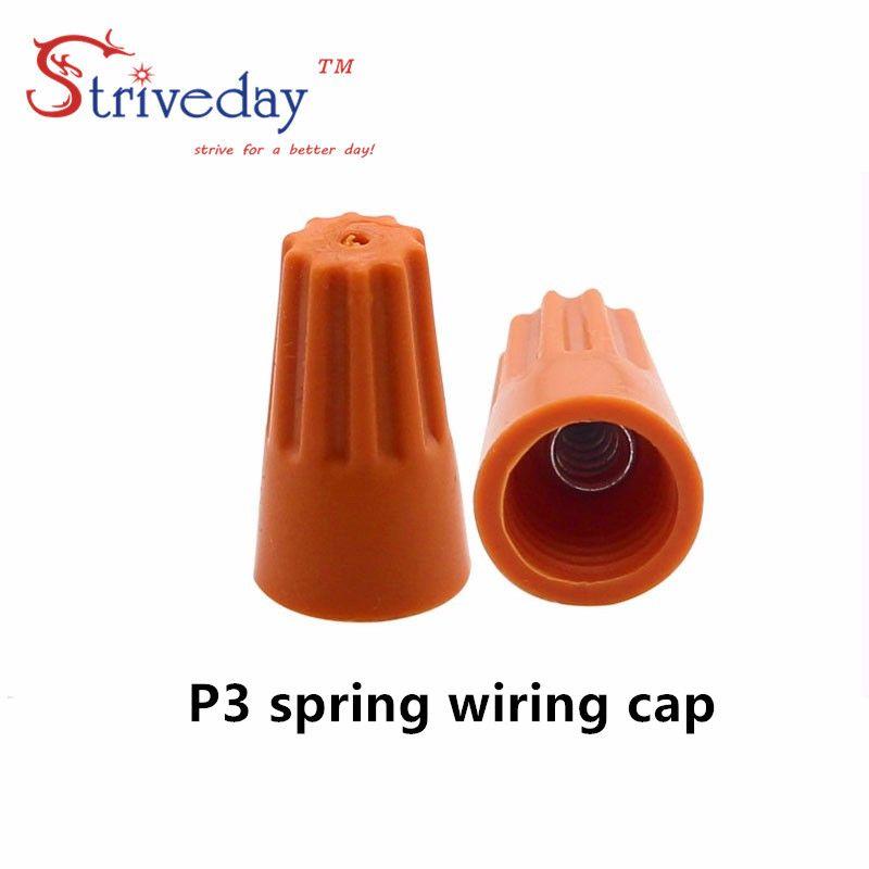 1000шт / серия NEW P3 Электрический провод Twist Клеммы Nut Connector Cap Spring Вставьте Ассортимент Цвет Оранжевый