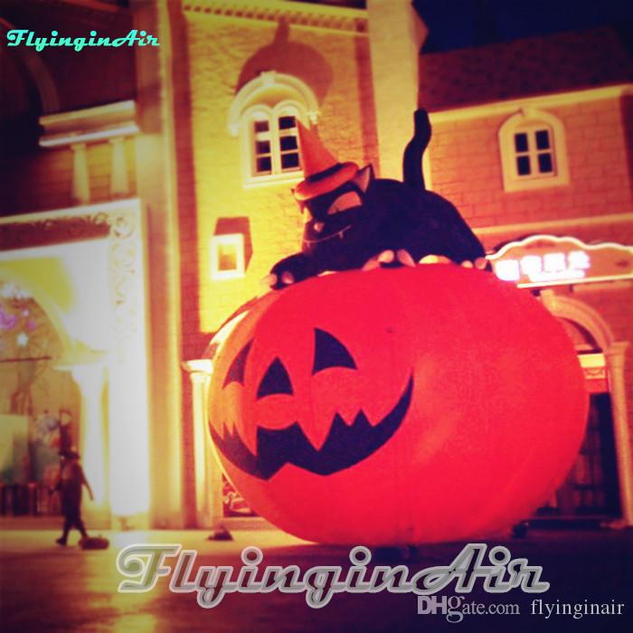 3m Outdoor Halloween Pumpkin Decorative Inflatable Pumpkin with Cat for Party and Mall
