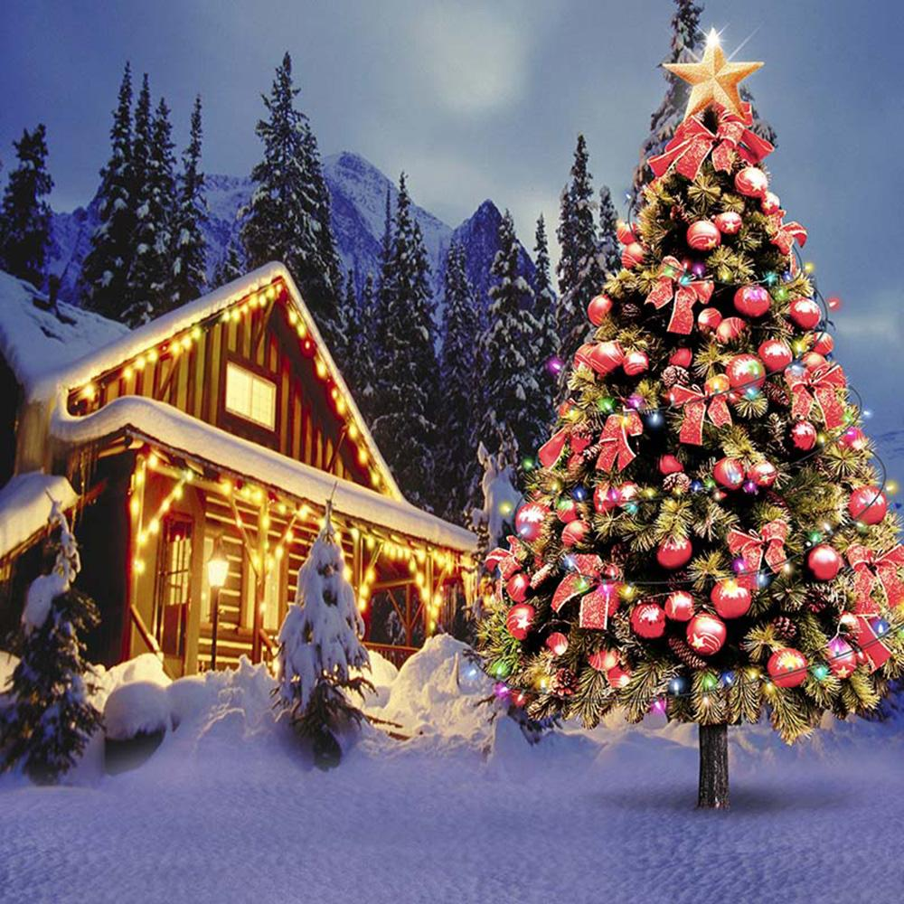 Christmas Village.2019 Outdoor Winter Snow Scenery Christmas Village Houses Photography Backdrop Vinyl Digital Printed Xmas Tree With Red Balls Photo Background From