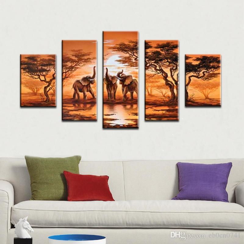 손으로 그린 100 % 현대 미술 오일 캔버스에 그림 아프리카 코끼리 벽에 사랑스러운 감정 5 개 / 세트 동물 사진