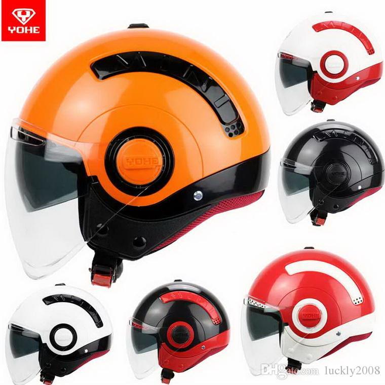 2016 Nouveau été Yohe doubles lentilles demi-visage casque de moto jeunes hommes et femmes mode MINI casques de vélo électriques en ABS