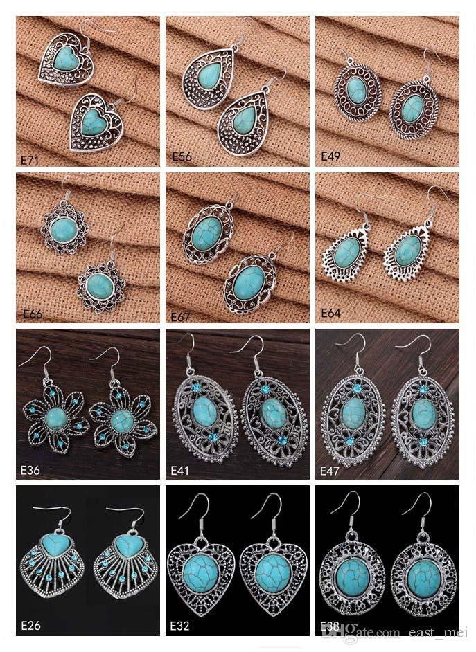 Orecchino europeo ovale cuore vuoto Ciondola orecchino 12 pezzi molto stile misto, orecchino turchese argento tibetano EMTQE2