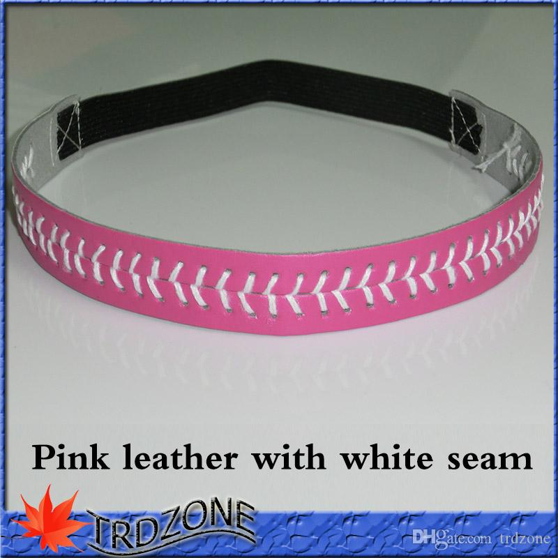 Couro rosa com costura de faixa de cabelo de elástico branco Headband elástico esportes