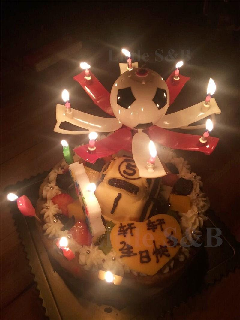 2016 New Musical Football Cup Flame Happy Birthday Cake Party Gift