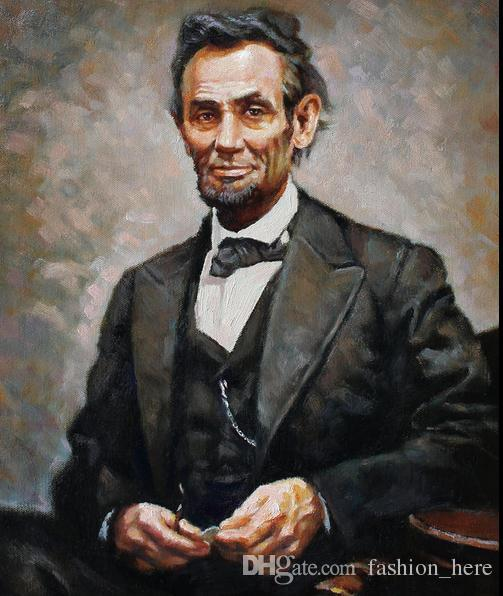 Framed ABRAHAM LINCOLN,Pure Handpainted Portrait Art Oil Painting On High Quality Canvas Multi Sizes Free Shipping