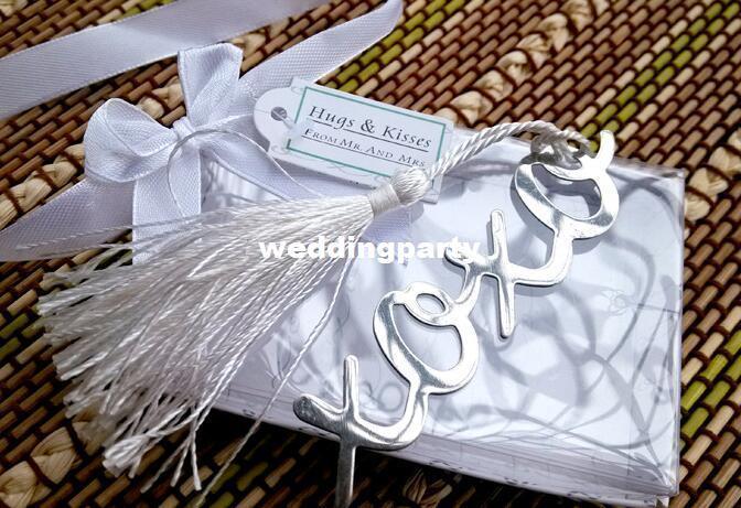 100pcs / lot atacado bonito estilo XOXO marcador de metal, marcadores de livro, presentes especiais do casamento
