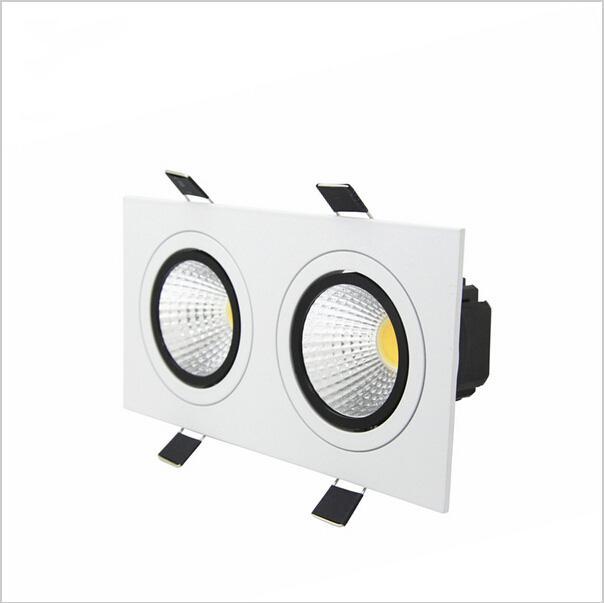 Super brillante Empotrable LED Regulable 2 cabeza Cuadrado Downlight COB 10W / 14W / 18W / 24W LED Spotlight Lámpara de techo AC85-265V luces led puck