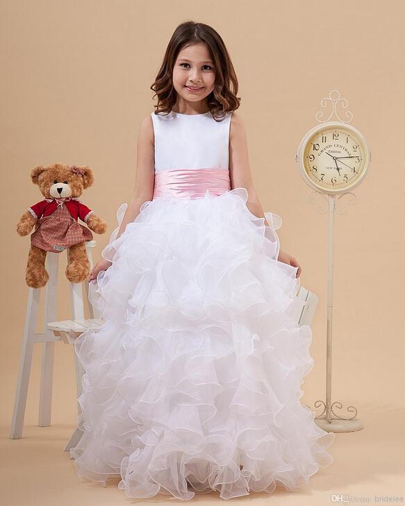 2020 Princesa de la joya blanca de cuello vestidos de niña de las colmenas una línea de satén y organza vestido barato de la muchacha por la fiesta vestidos de boda con el arco rosado