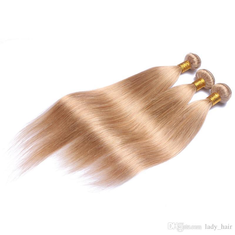 페루 허니 금발 인간의 머리카락 3PCS 부드러운 스트레이트 헤어 번들 거래 # 27 Strawbery Blonde 페루 인간의 머리카락 직물 확장