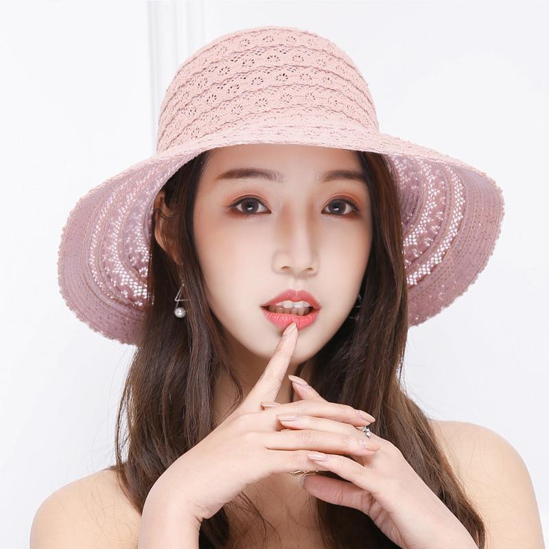 Wholesale- HAPPYTAIL 2017 Summer Women Lace Sun Hat Foldable Wide Large Brim Elegant Ladies Bow Decoration Beach Hat Adjustable Pink White