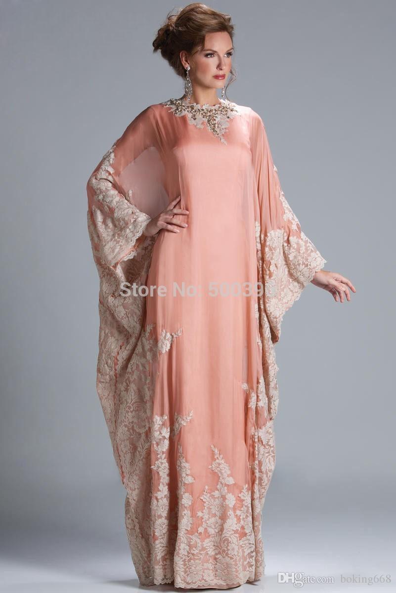 2019 Newest Women Formal Gown Arrival Dubai Caftan Coral Color Applique Lace Chiffon Arabic Evening Dress Prom Dresses Custom Made