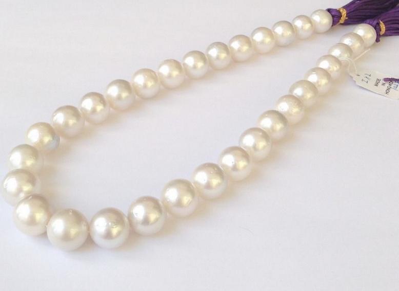 Schöne 10-11mm Südsee weiße Perlenkette 17 Zoll 14 Karat Goldverschluss