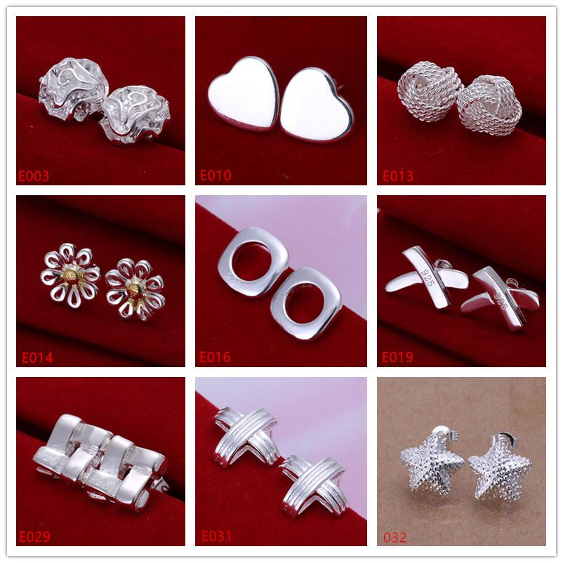 Wholesale women's sterling silver plated earring 10 pairs a lot mixed style EME1,new arrival fashion 925 silver plate stud earrings