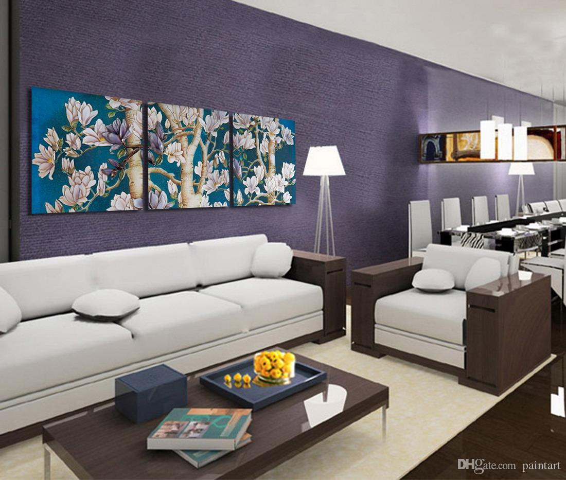 Morden Flowers Abstract Floral Painting Reproduction Print On Canvas Home Wall Decor Set30020