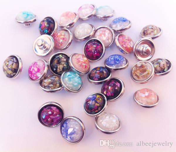 Fashion Round Abalone Shell Stone Noosa Chunks Metal Ginger 12MM Snap Buttons For Diy Jewelry Findings 50pcs/lot Mix Colors