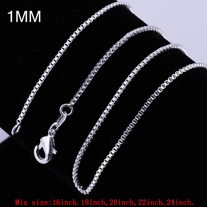 "Wholesale Bulk Jewelry Charm Case Sterling Silver Chain 925 Silver Boxes Necklace Lobster Clasp 1mm 16""18""20""22""24"" Mix Order"