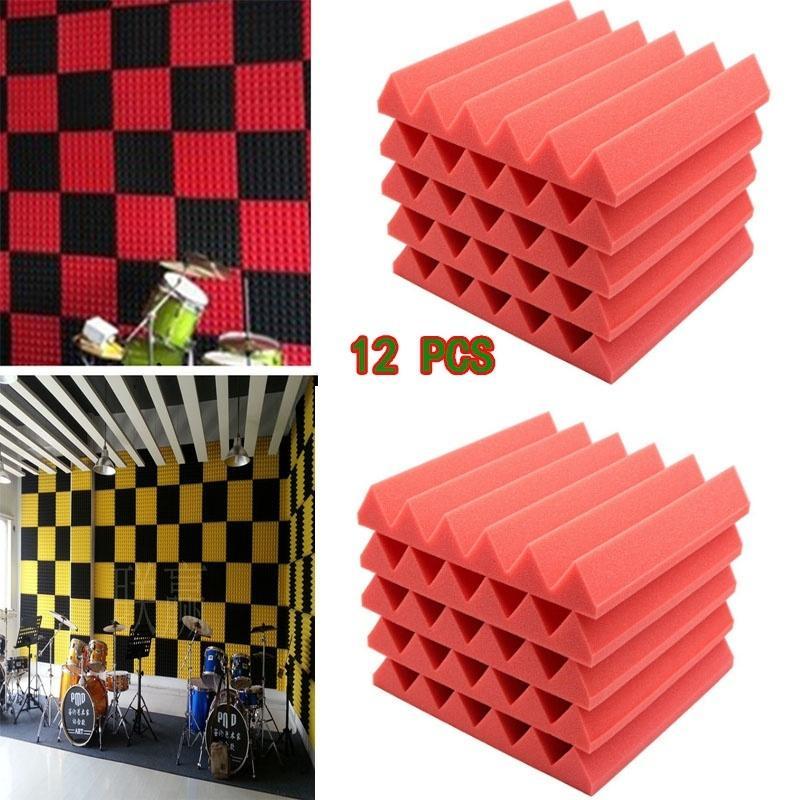 12 PCS-Keil-Akustikschaum-Schallschutz-Raum-Behandlungs-Studio-Absorption deckt flammhemmenden Grad E1 30x30x5cm ab