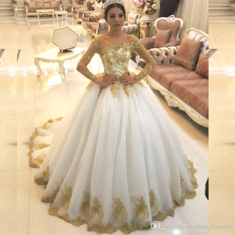 Ivory Lace Bodice Ball Gown Wedding Dress With Sheer Long: Gold And Ivory White Corset Wedding Dresses Sheer Scoop