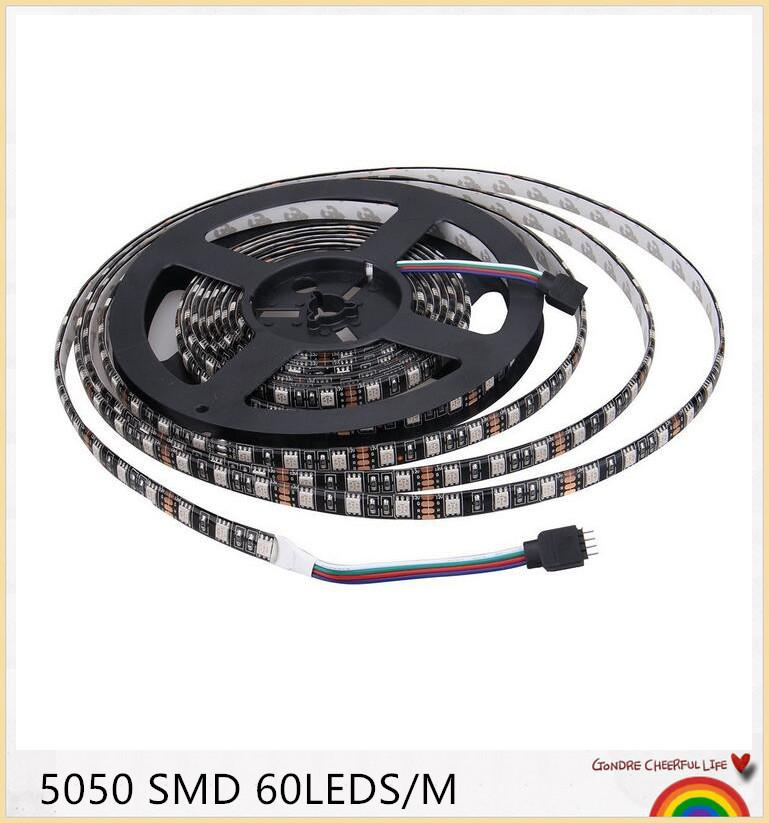 YON Black PCB LED Strip 5050,DC12V,Black PCB Board,IP65 Waterproof,60LED/m,5m 300LED,RGB,White,Warm White,Red,Green,Blue
