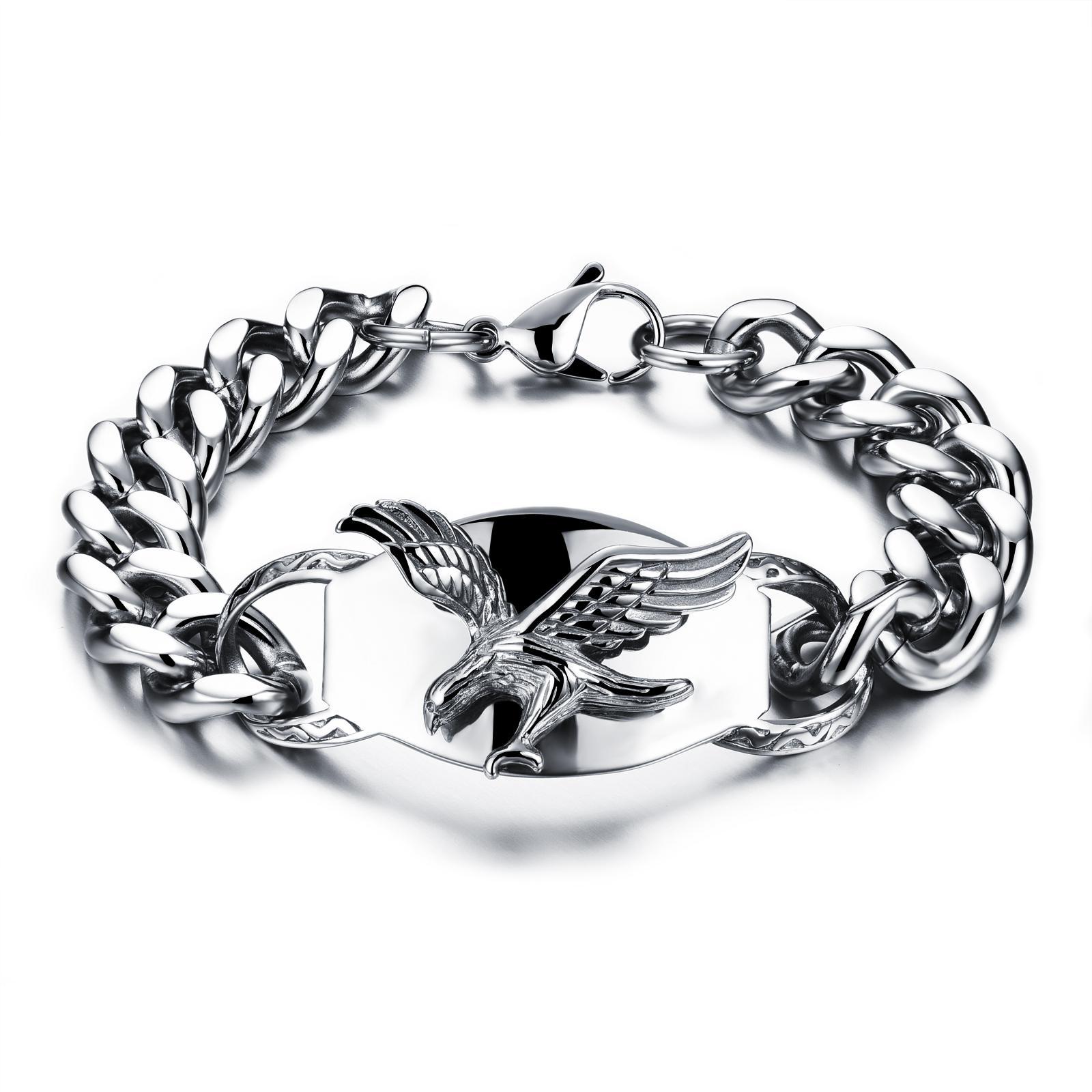 Bracelet chaîne à maillons vintage en acier inoxydable avec breloque aigle personnalisé cadeau bijoux